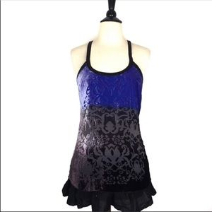 Free People Blue and Black Tank Top